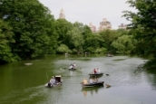 CR survey crew conducting hydrographic survey in The Lake in Central Park, Manhattan.