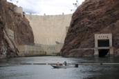 CR survey crew conducting pre-construction hydrographic survey at the Hoover Dam