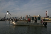 CR's custom-built survey and sampling vessel, R/V Lophius, conducting a geophysical survey in NYC