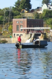 Bathymetric survey being conducted at the edge of the Veazie Dam, Penobscot River
