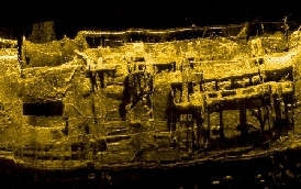 Side Scan Sonar Record of Wreck Used for Archaelogical Inspection