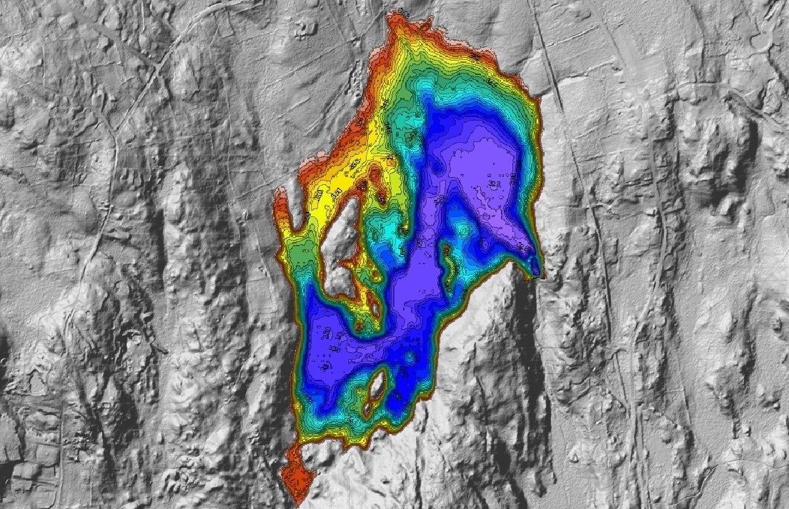 Integration of single-beam bathymetric data with publically available LIDAR data allowed accurate assessment of holding capacity despite low water levels experienced during the survey.