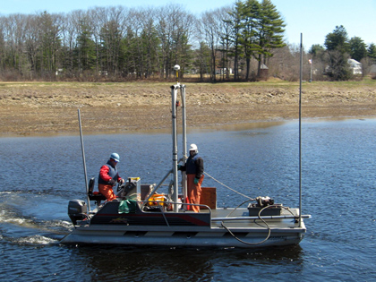 20-foot custom Pontoon Boat designed for shallow water vibracoring and sediment sampling
