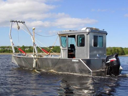 26-foot Stanley Bullnose aluminum workboat designed for inshore survey and coring operations