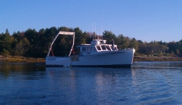 The R/V Jamie Hanna at anchor in Surry, Maine