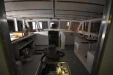The pilothouse of the Jamie Hanna, looking forward
